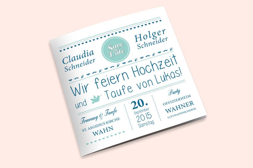 Nicht Nur Die Hochzeit Soll Kommuniziert Werden, Sondern Auch Eine Taufe.  Genau Hier Lag Die Herausforderung Für Das Design. Die Lösung: Eine  Typografische ...